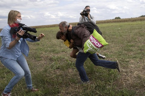 TV journalist trips fleeing migrants
