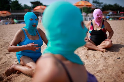 The 'face-kini' hits the beach