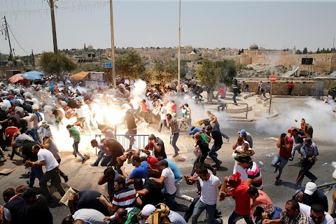 "Tear gas scene from Jerusalem's ""Day of Rage"""