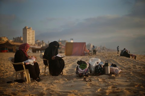 At the beach in Gaza City