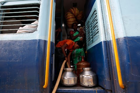 The Indian children who take a train to collect water