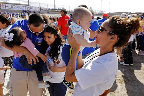 Family reunited at U.S.-Mexico border