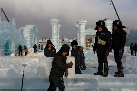 China's ice sculptors build frozen castles in the cold