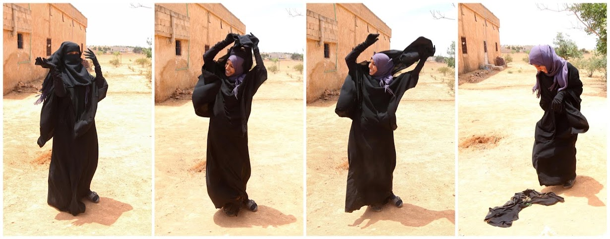 Souad tramples her niqab underfoot, Reuters photos